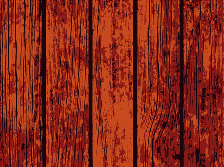 Red wooden texture vector illustration for background. Distressed timber trace. Obsolete wood floor or table board. Scalable backdrop for rustic decor. Vintage design overlay with lumber surface grit