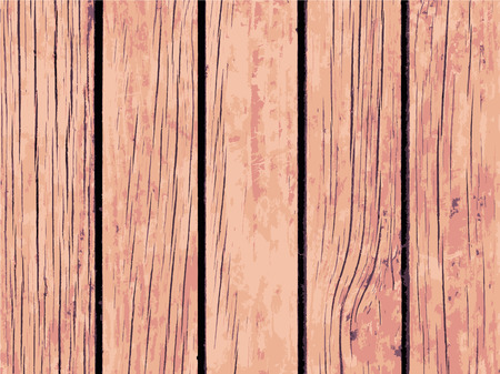 Vector texture of pale brown wooden board. Distressed timber traced background. Obsolete wood floor or table board. Scalable backdrop for rustic decor. Vintage design overlay with lumber surface grit Ilustração