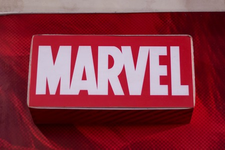 Dumaguete, Philippines - 08 March 2018: - Marvel shop and brand label in shopping mall. Well-known worldwide comic book publisher shop. Official store of Marvel apparel. Kid costume with superhero