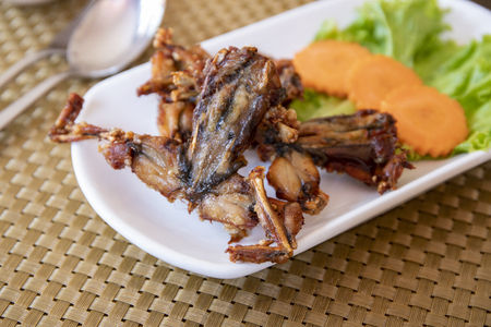 Fried frogs with vegetables on white plate, Cambodian traditional dish. Khmer national food. Cambodia cuisine. Frog meat grilled. Exotic food of South Asia. Meat and vegetables. Cooked frog served