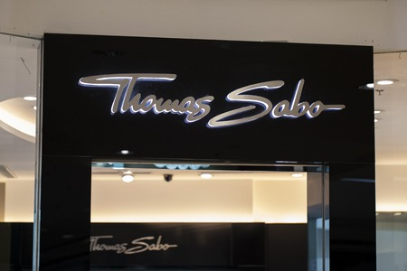 Manila, Philippines, 22 March 2018 - Thomas Sabo brand name on store entrance in SM Mall of Asia shopping mall. Jewelry store label. Bijouterie shop. Women fashion accessories storefront. Watch shop