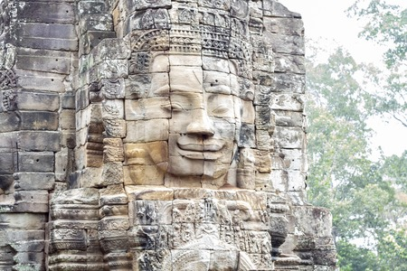 Stone face ruin of ancient buddhist temple Bayon in Angkor Wat complex, Cambodia.
