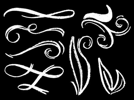 White chalk flourish decor vector illustration. Textured flourishing dividers or border element. White chalk wedding invitation decor. Chalkboard lettering flourish. Romantic blackboard decoration 矢量图像