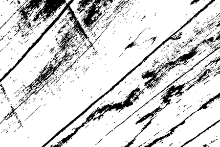 Grungy wooden texture. Weathered timber black and white vector texture. Rough wood board surface. Obsolete timber structure. Natural lumber grit and scratch. Aged worn vintage overlay. Wood surface