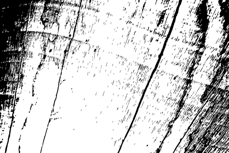 Grungy wooden texture. Weathered driftwood black and white vector texture. Rough wood board surface. Obsolete timber structure. Natural lumber grit and scratch. Aged worn vintage overlay. Wood surface