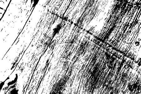 Grungy wooden texture. Rough timber black and white vector texture. Weathered hardwood surface. Obsolete timber structure. Natural lumber grit and scratch. Aged worn vintage overlay. Wood surface