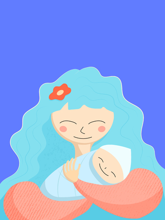 Mother and newborn baby. Happy Mother's Day greeting card template. Cheerful mom and baby smile. Happy motherhood card on blue background. Textured vector illustration. Congratulation with newborn Vettoriali