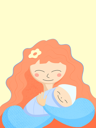 Mother and newborn baby. Happy Mother Day greeting card template. Red hair mom and baby smile. Happy motherhood card on yellow background. Textured vector illustration. Congratulation with newborn