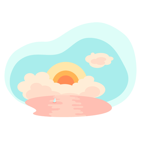 Cloudy sunset and sea. Tropical sea landscape flat style vector illustration. Summer travel scene on white background. Orange sunset with cloud. Romantic seascape with yacht sail. Summer vacation trip