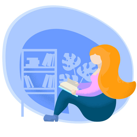 Girl read book flat vector illustration. Reading woman character reading book. Reading hobby for relax. Self-education or learning concept. Book case and potted plant background. Calm weekend activity