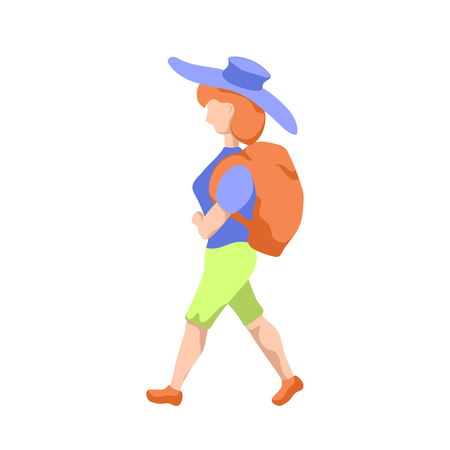 Travelling woman with backpack. Gap year travel girl with sack. Female hipster travelling. Summer vacation trip clipart