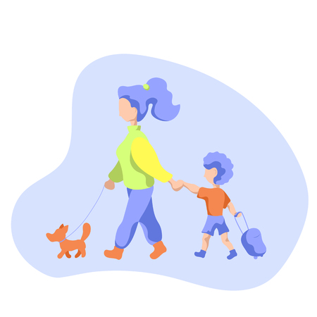 Mother with child and dog on walk. Mom walking child to school. Little kid with case. Walking dog and child in morning. Healthy lifestyle activity for parent and child. Trip for family and pet concept Illustration