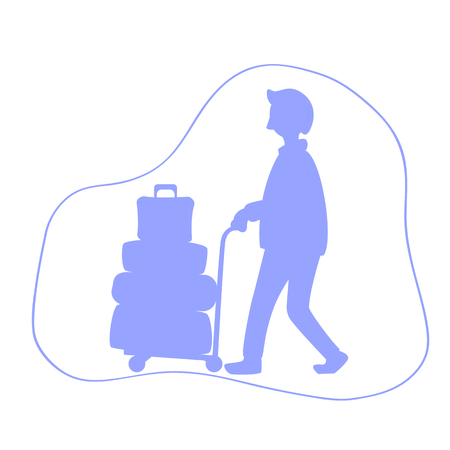 Man with luggage trolley silhouette illustration. Tourist with many travel cases.