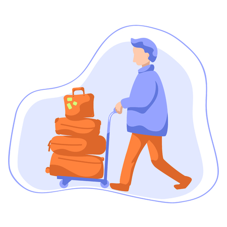 Man with luggage trolley flat style illustration. Tourist with many travel cases. Illustration
