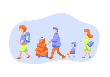 Passenger walking with luggage and trolleys, flat illustration on white background. Tourist group in airport.