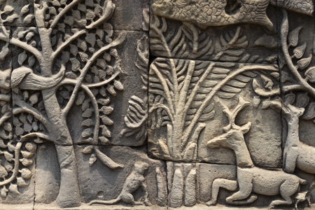 Ancient temple stone carved bas-relief in Angkor Wat. Tree and deer bas-relief closeup. Angkor Wat complex Bayon temple architecture detail.