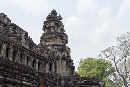 Ancient temple remains in Angkor Wat. Baphuon temple tower landscape. Buddhist or hindu temple. Khmer architecture heritage