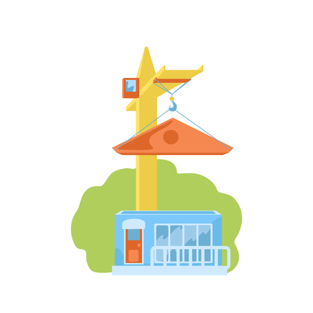 Construction crane building new house. House building vector illustration on white background. Countryside house construction. Real estate and development concept. Tower crane construction machine Illustration