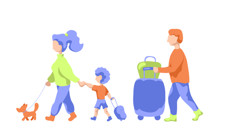 Travelling family with pet and luggage, flat vector illustration. Family leaving to summer vacation. Man and woman with child in airport. Wife and husband with kid traveling. Airport scene isolated