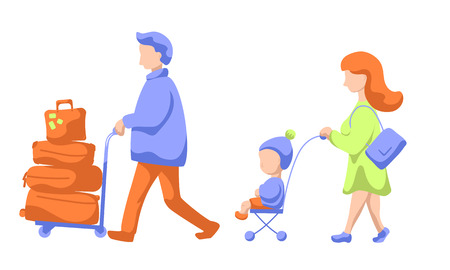 Traveling family with child and luggage trolley, modern flat vector illustration. Family leaving to summer vacation. Man, woman and child in airport. Wife and husband with kid traveling. Airport scene