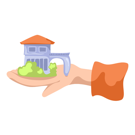 Small countryhouse on hand. Country house flat vector illustration on white background. Real estate agency concept. Summer house on realtor hand. Broker hand hold house. Building sale. Property rent Illustration