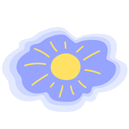 Yellow sun on blue sky. Sunny weather freehand vector icon. Childish sun icon. Weather forecast symbol. Summer sky illustration. Morning sunshine isolated. Optimistic natural sign of spf protection