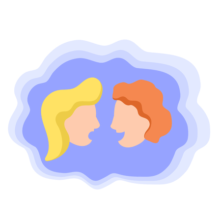Two talking heads on man and woman, colorful vector icon. Friends speaking. Language school logo. Conversation of man and woman. Friendly arguments. Talkative person. Gossip or chip chat concept