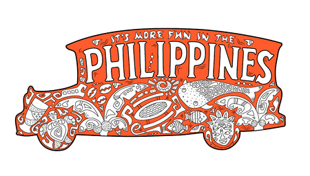 Orange jeepney with philippine ornament. Palm tree, whale shark, mask, turtle, halo-halo. Vector coloring page. Philippines postcard. Polynesian style motif. Its more fun in the Philippines lettering Illustration
