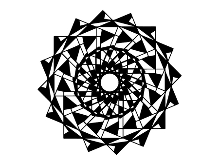 Black mosaic mandala on white background. Mandala with move illusion vector. Round stamp template. Circle ornament isolated. Abstract medallion. Handdrawn seal or tattoo. Coloring mandala clipart Ilustração