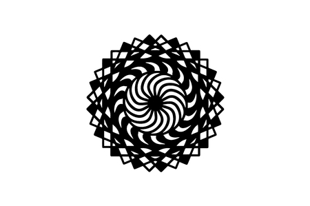 Black spiral mandala on white background. Mandala with move illusion vector. Round stamp template. Circle ornament isolated. Abstract medallion. Handdrawn seal or tattoo. Coloring mandala clipart