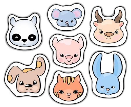 Cute animals stickers. Smiling animal  clipart. Handdrawn domestic animals cat and dog isolated. Colorful icons for child birthday. Wild animal rabbit character. Farm animal cow and pig.