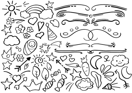 Black and white doodle borders. Handdrawn vector clipart. Funny doodle set in freehand style. Hand-drawn text separator. Journal clip art collection. Outline icon.