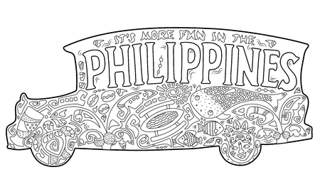 Philippine jeepney with tribal ornament. Palm tree, whale shark, mask, turtle, halo-halo. Vector coloring page. Philippines postcard. Polynesian style motif. Its more fun in the Philippines lettering Illustration