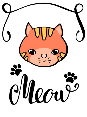 Cute cat and Meow lettering inscription. Handdrawn cat postcard. Red kitty face and paw marks. Cat lover card. Meow handwritten word. Freehand style nursery poster. Domestic pet print for child