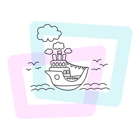 Schip in zee vectorillustratie. Zomer poster op witte achtergrond. Schattige cruiseschip kinderprint. Cartoon zeegezicht met vintage schip, wolken, zeegolf en zeemeeuwen. Doodle stijl cruiseliner icoon