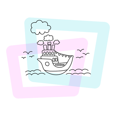 Ship in sea vector illustration. Summer poster on white background. Cute cruise liner child print. Cartoon seascape with vintage ship, clouds, sea wave and seagulls. Doodle style cruiseliner icon Illustration