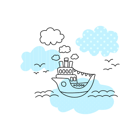 Ship in sea vector illustration with black line on white background. Cute ship in sea print for boy. Cruise liner with blue pattern patch. Ocean liner line art. Seascape with ferry, sea waves, seagull