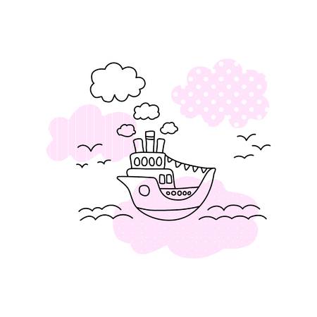 Ship in sea vector illustration with black line on white background. Cute ship in sea print for girl. Cruise liner with pink pattern patch. Ocean liner line art. Seascape with ferry, sea wave, seagull 矢量图片