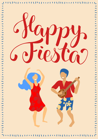 Happy Fiesta vertical card with dancing couple and lettering. Latina dance man and woman poster. Banjo player and dancer in red dress. Flat style greeting card design. Traditional spanish festival
