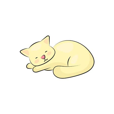 Lindo gato durmiendo sobre fondo blanco. Gatito amarillo gordo soñando. Icono de gato perezoso o logotipo aislado. Acogedor animal doméstico. Gatito sonriente relajado. Adopta la etiqueta del gato. Hogar para mascota. Gatito, carácter clipart