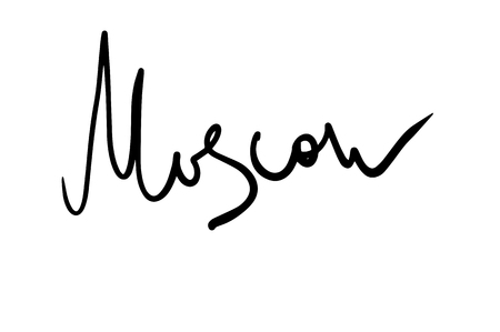 Moscow inscription in freehand lettering style. Moscow label or sign. Moscow word by black marker on white background. Naive raster lettering. Russia capital city sign. Modern calligraphy