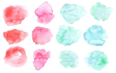 Watercolor washout blots in pink and blue colors. Watercolour blots isolated on white background. Color and water gradient. Watercolor paper texture. Romantic pastel transparent watercolor background