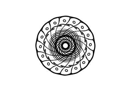 Black vector mandala on white background. Doodle line art decor. Round decoration in futuristic style. Single concentric ornament isolated. Vector mandala stamp or tattoo. Coloring mandala clipart Ilustração