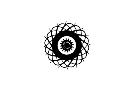 Black vector mandala on white background. Abstract medallion decor. Round decoration in futuristic style. Single concentric ornament isolated. Vector mandala stamp or tattoo. Coloring mandala clipart