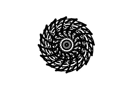Black vector mandala on white background. Freehand medallion. Round decoration in futuristic style. Single concentric ornament isolated. Vector mandala stamp or tattoo. Coloring mandala clipart