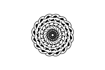 Black layered mandala on white background. Raster mandala decor. Futurist stamp template. Single concentric ornament isolated. Abstract medallion. Handdrawn seal or tattoo. Coloring mandala clipart. Ilustração