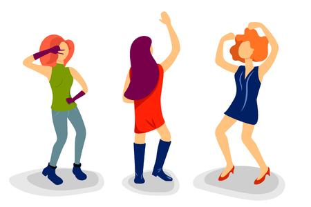Figure de danseuse dans un style plat. Les gens dansent l'illustration vectorielle sur fond blanc. Danseur de fête isolé. Personnage féminin se déplaçant sur la musique. Clipart d'invitation de soirée ou de fête. Danse femme