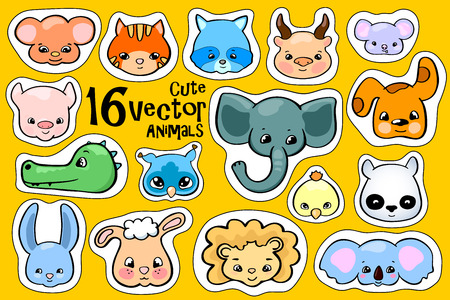 Colorful animal face stickers. Cute animal vector clipart. Little zoo icons with elephant, koala, racoon, monkey and pig. Funny animal character face. Nursery logo collection. Playful kid illustration