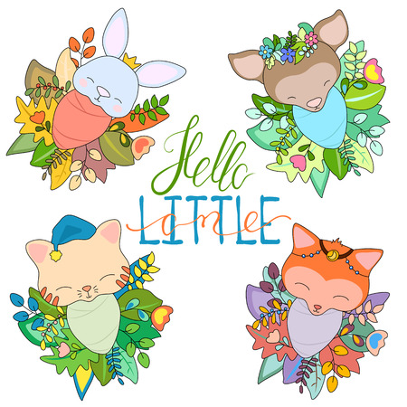 Newborn animal babies in seasonal floral wreath. Cute baby animal set vector illustration on white background. Baby shower decor. Colorful flower and leaf wreath with fox, cat, deer and rabbit toddler
