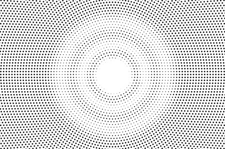 Black on white faded halftone texture. Round dotwork gradient. Round vector background. Monochrome halftone overlay for vintage cartoon effect. Perforated retro card. Abstract dotwork surface
